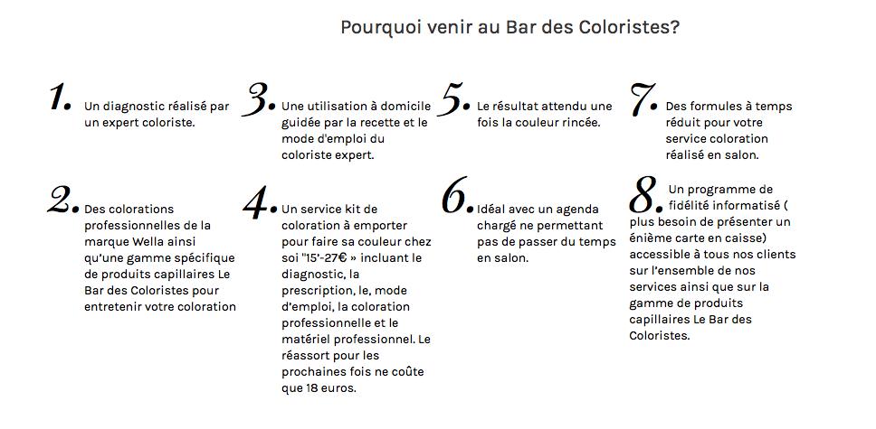 Le concept du bar des coloristes